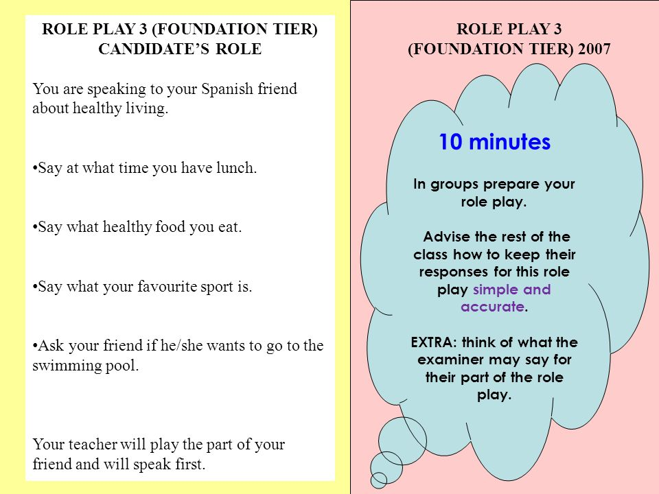 ROLE PLAY 3 (FOUNDATION TIER) CANDIDATES ROLE You are speaking to your Spanish friend about healthy living.