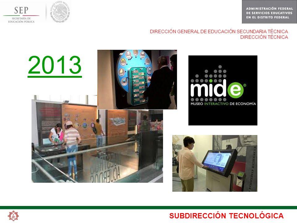 SUBDIRECCIÓN TECNOLÓGICA DIRECCIÓN GENERAL DE EDUCACIÓN SECUNDARIA TÉCNICA DIRECCIÓN TÉCNICA 2013