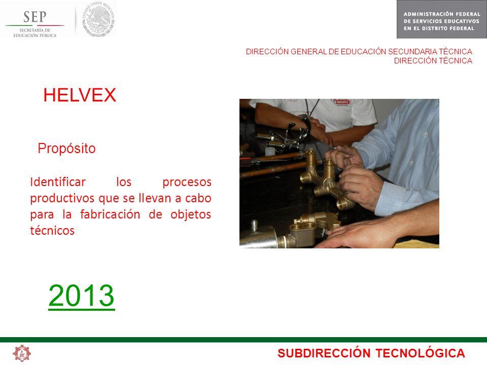 SUBDIRECCIÓN TECNOLÓGICA DIRECCIÓN GENERAL DE EDUCACIÓN SECUNDARIA TÉCNICA DIRECCIÓN TÉCNICA HELVEX Propósito 2013 Identificar los procesos productivo