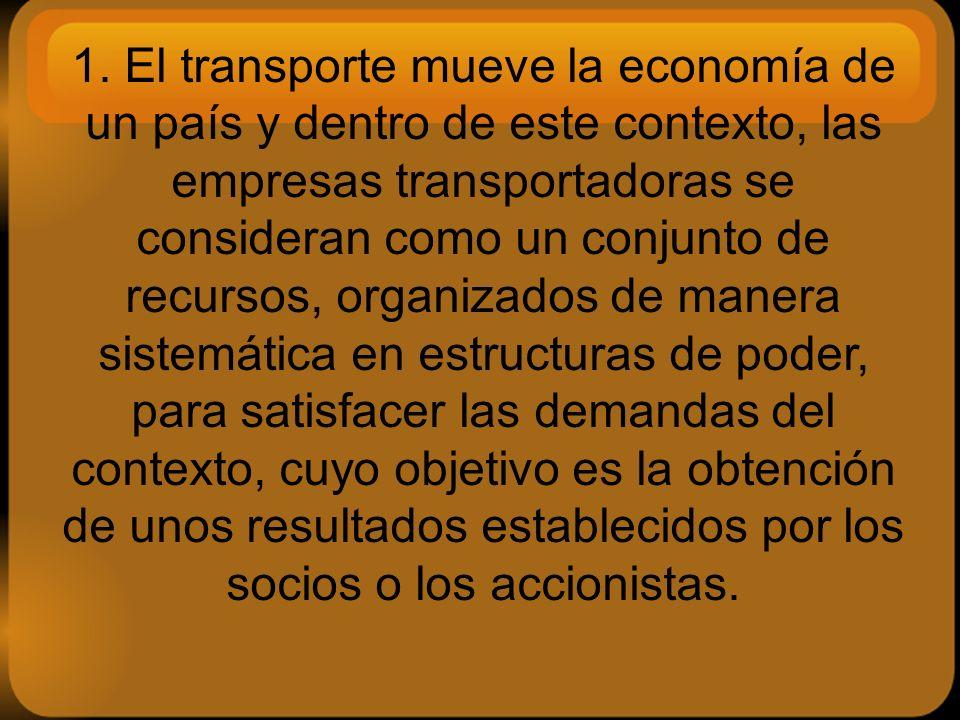 1. El transporte mueve la economía de un país y dentro de este contexto, las empresas transportadoras se consideran como un conjunto de recursos, orga