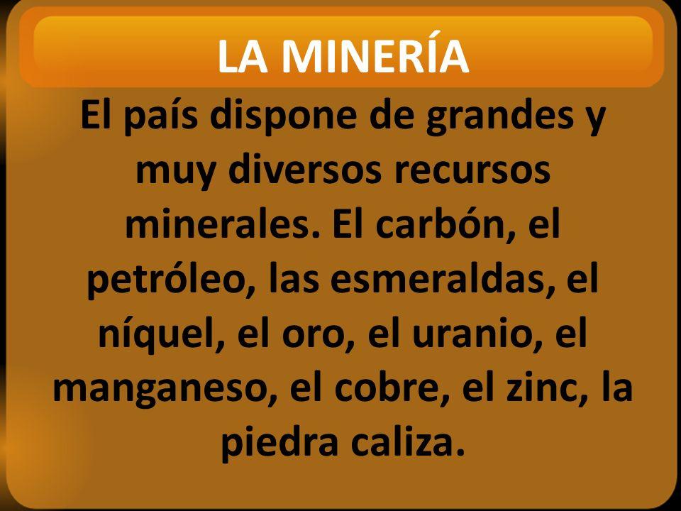 LA MINERÍA El país dispone de grandes y muy diversos recursos minerales.