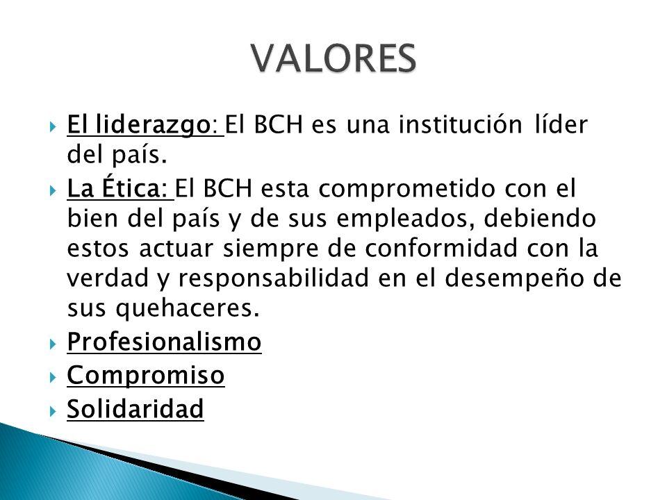 El liderazgo: El BCH es una institución líder del país. La Ética: El BCH esta comprometido con el bien del país y de sus empleados, debiendo estos act