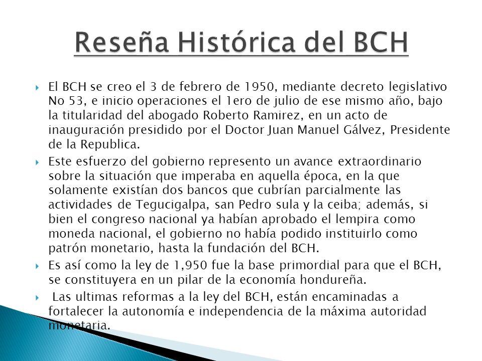 El BCH se creo el 3 de febrero de 1950, mediante decreto legislativo No 53, e inicio operaciones el 1ero de julio de ese mismo año, bajo la titularida