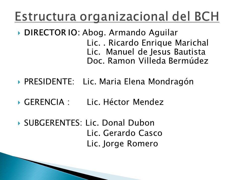 DIRECTOR IO: Abog. Armando Aguilar Lic.. Ricardo Enrique Marichal Lic. Manuel de Jesus Bautista Doc. Ramon Villeda Bermúdez PRESIDENTE: Lic. Maria Ele
