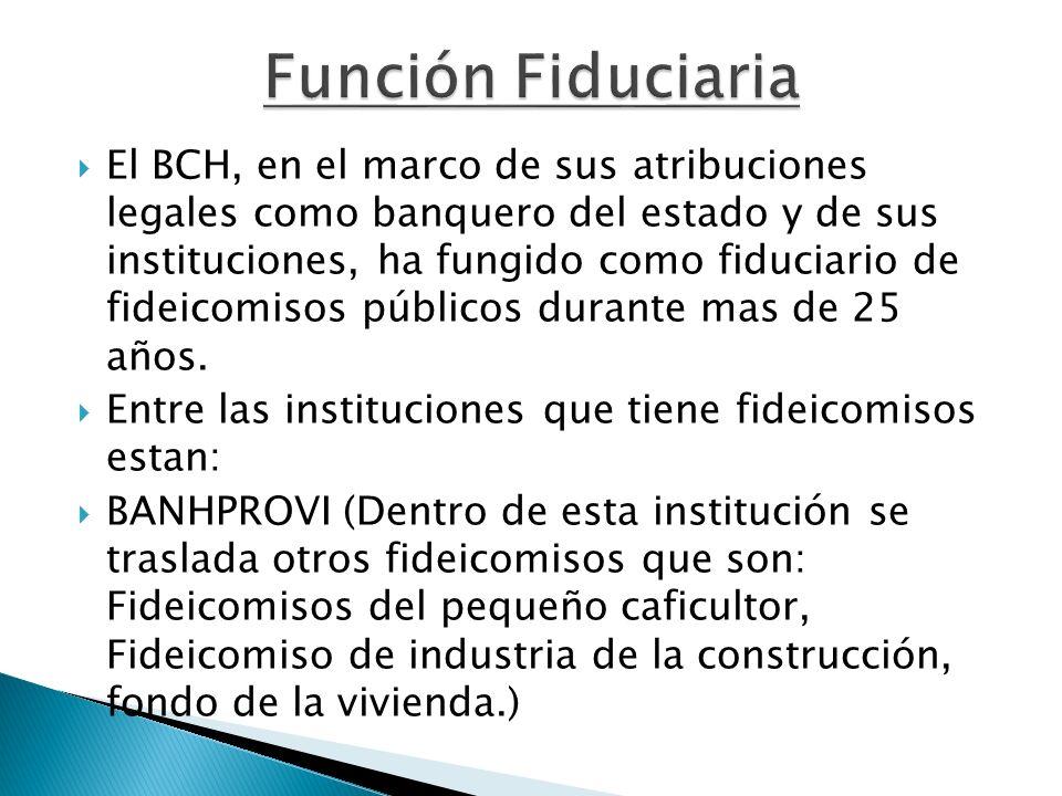 El BCH, en el marco de sus atribuciones legales como banquero del estado y de sus instituciones, ha fungido como fiduciario de fideicomisos públicos d