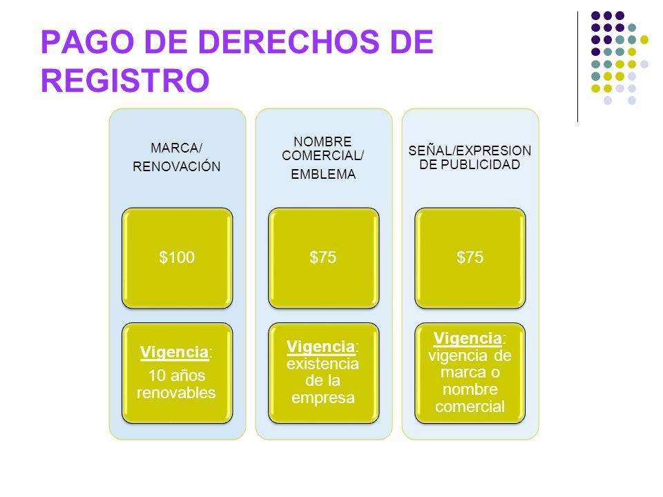 PAGO DE DERECHOS DE REGISTRO MARCA/ RENOVACIÓN $100 Vigencia: 10 años renovables NOMBRE COMERCIAL/ EMBLEMA $75 Vigencia: existencia de la empresa SEÑA