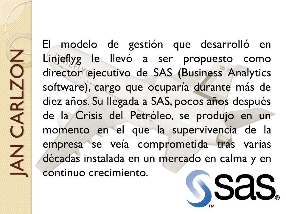 El modelo de gestión que desarrolló en Linjeflyg le llevó a ser propuesto como director ejecutivo de SAS (Business Analytics software), cargo que ocuparía durante más de diez años.