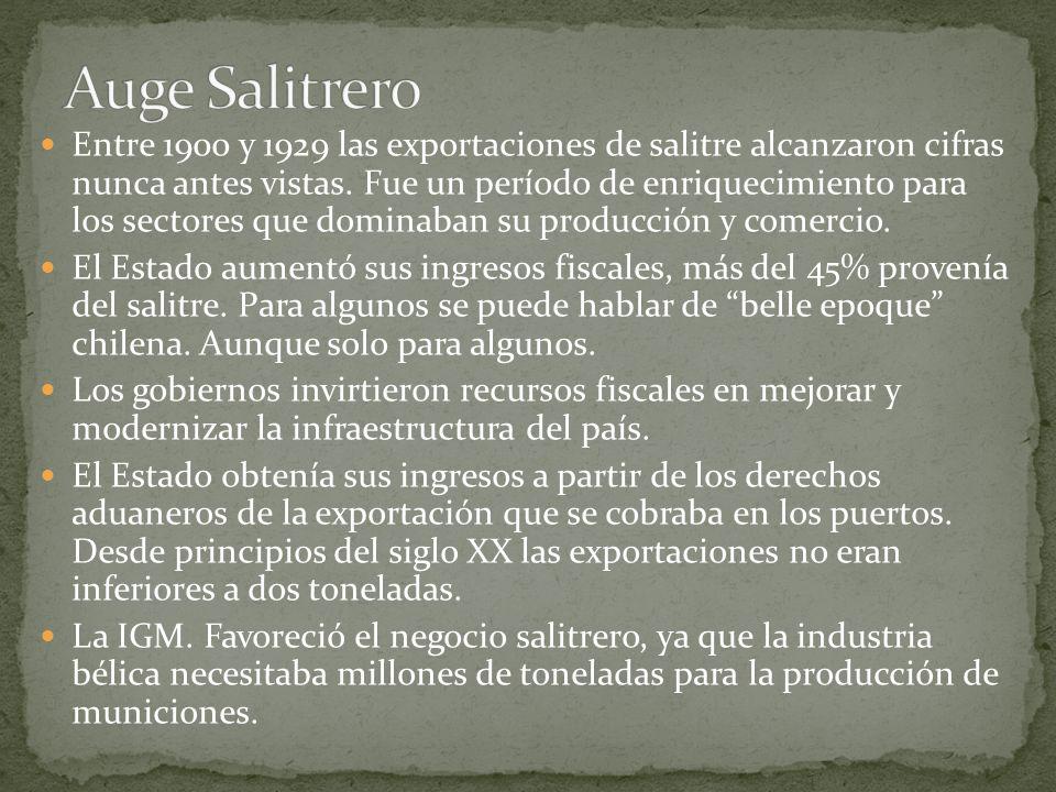 Entre 1900 y 1929 las exportaciones de salitre alcanzaron cifras nunca antes vistas. Fue un período de enriquecimiento para los sectores que dominaban