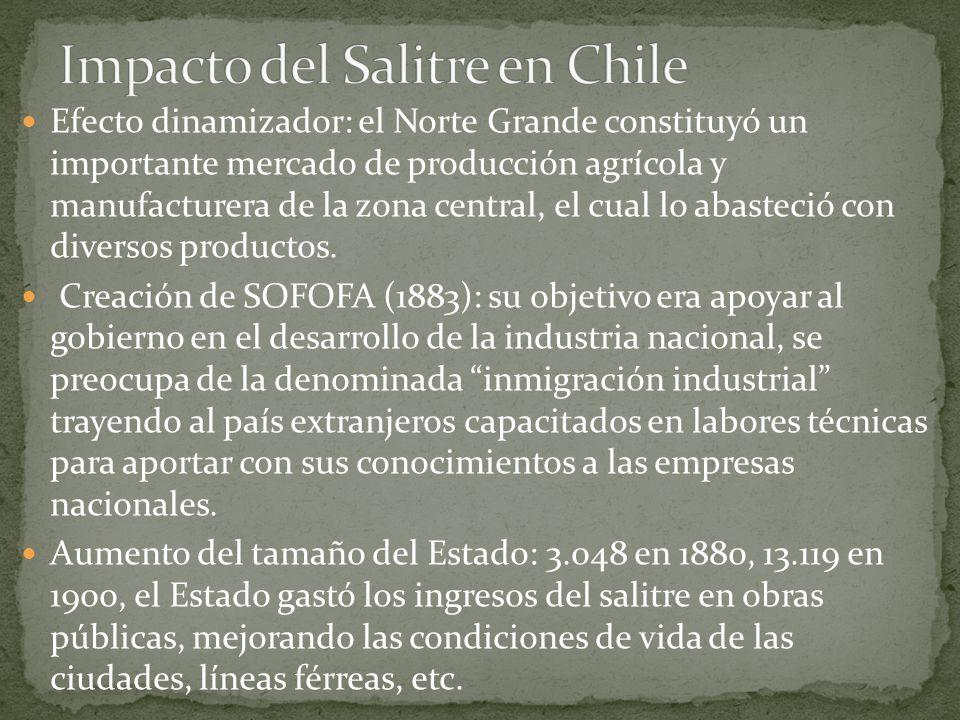 Efecto dinamizador: el Norte Grande constituyó un importante mercado de producción agrícola y manufacturera de la zona central, el cual lo abasteció c
