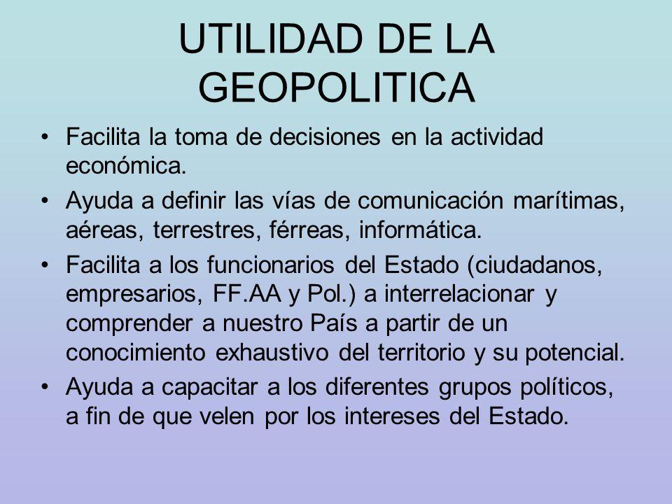 ESTADO DESDE UN PUNTO DE VISTA GEOPOLITICO Desde un punto de vista geopolítico al Estado podemos estructurarlo bajo cinco conceptos.