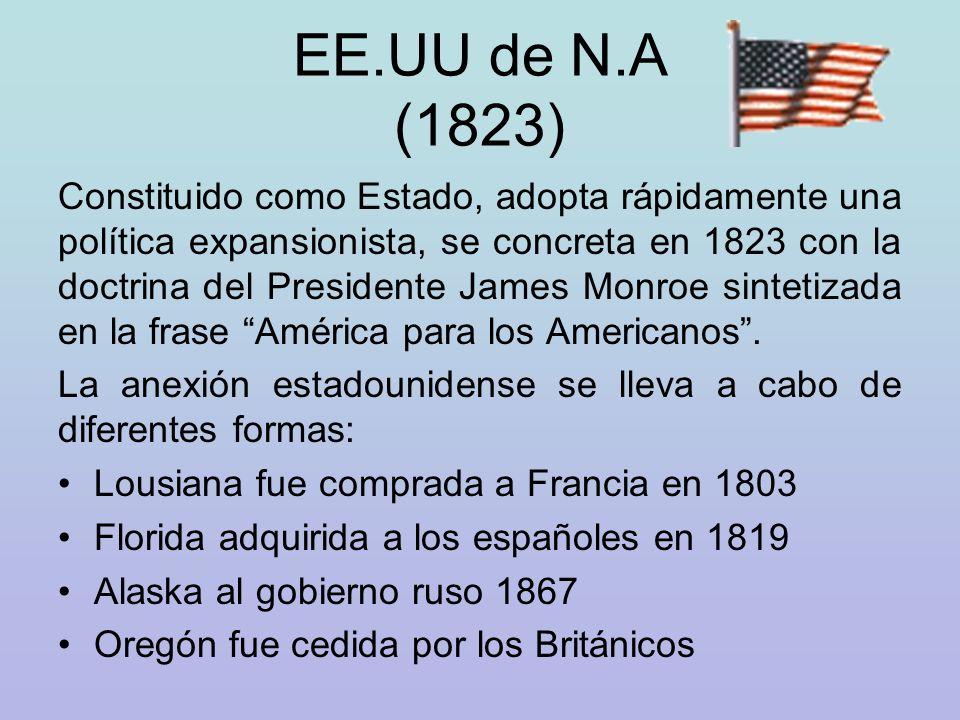 Y luego de conflictos bélicos con México los nacientes EE.UU adquirieron: Texas California Arizona Nuevo México La conquista del oeste, otro episodio significativo en la ampliación territorial del país.