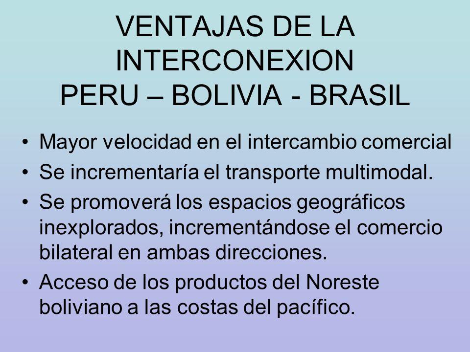 VENTAJAS DE LA INTERCONEXION PERU – BOLIVIA - BRASIL Mayor velocidad en el intercambio comercial Se incrementaría el transporte multimodal. Se promove