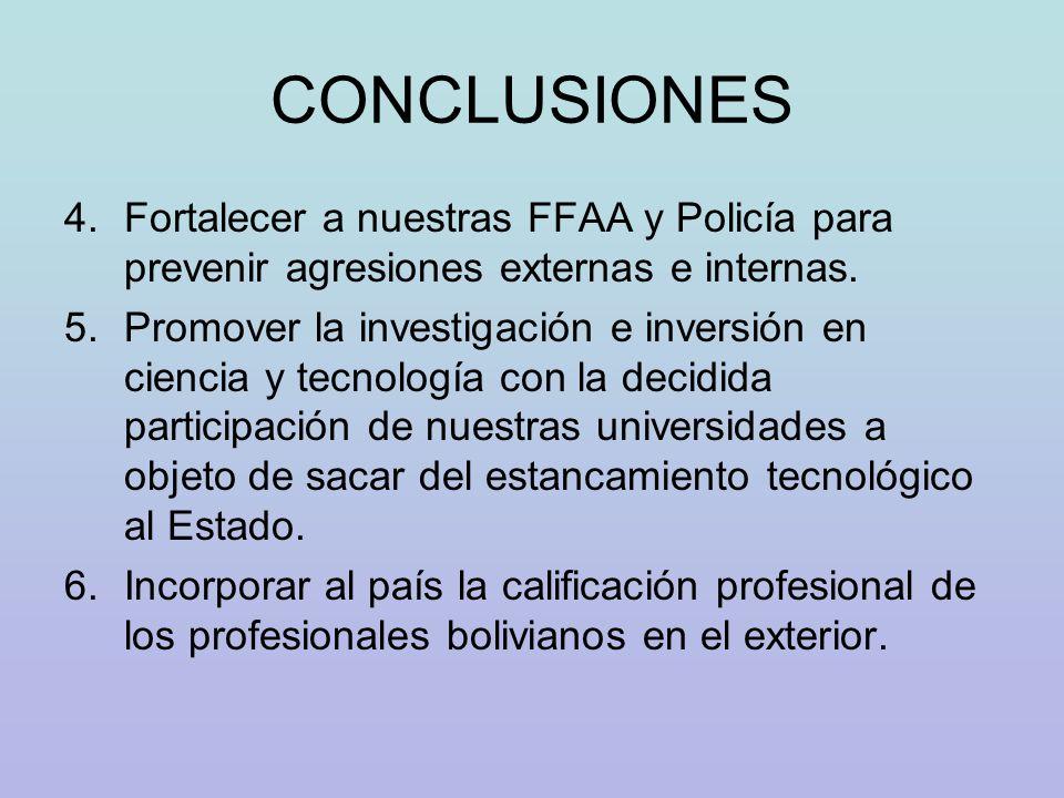 CONCLUSIONES 4.Fortalecer a nuestras FFAA y Policía para prevenir agresiones externas e internas. 5.Promover la investigación e inversión en ciencia y