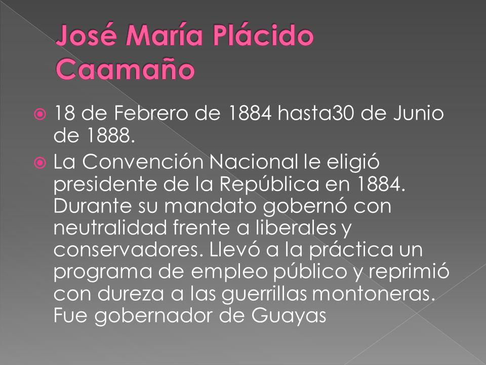 18 de Febrero de 1884 hasta30 de Junio de 1888. La Convención Nacional le eligió presidente de la República en 1884. Durante su mandato gobernó con ne