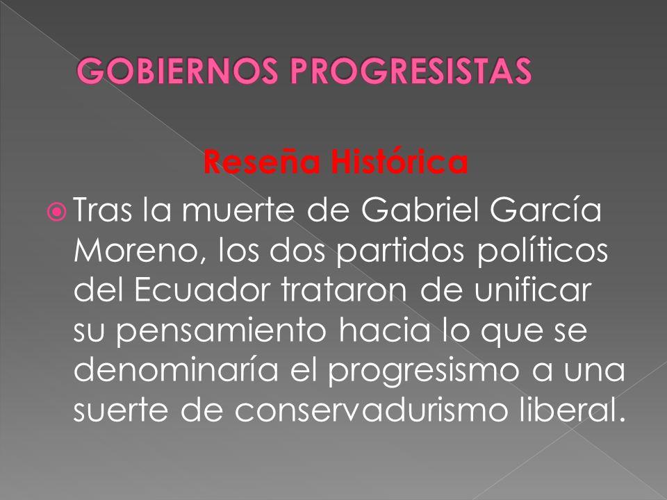 Reseña Histórica Tras la muerte de Gabriel García Moreno, los dos partidos políticos del Ecuador trataron de unificar su pensamiento hacia lo que se d
