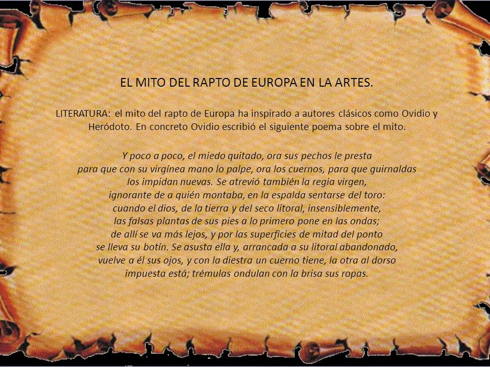 EL MITO DEL RAPTO DE EUROPA EN LA ARTES.