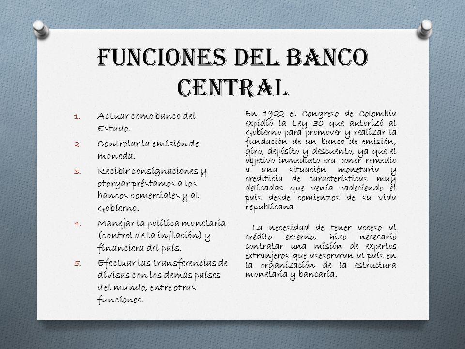 FUNCIONES DEL BANCO CENTRAL 1. Actuar como banco del Estado. 2. Controlar la emisión de moneda. 3. Recibir consignaciones y otorgar préstamos a los ba