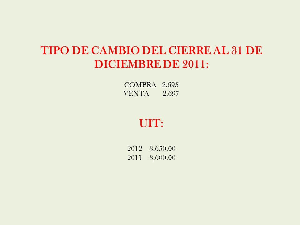 TIPO DE CAMBIO DEL CIERRE AL 31 DE DICIEMBRE DE 2011: COMPRA 2.695 VENTA 2.697 UIT: 2012 3,650.00 2011 3,600.00