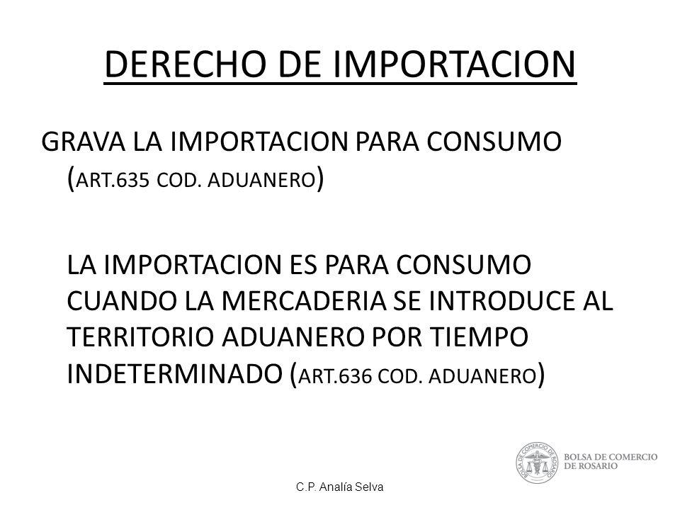 C.P.Analía Selva DERECHO DE IMPORTACION GRAVA LA IMPORTACION PARA CONSUMO ( ART.635 COD.