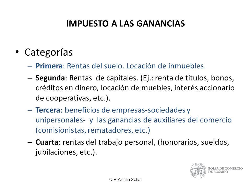 C.P.Analía Selva IMPUESTO A LAS GANANCIAS Categorías – Primera: Rentas del suelo.
