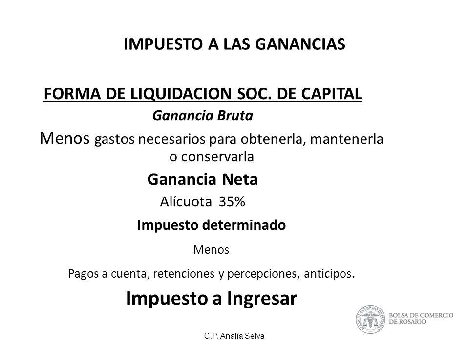 C.P.Analía Selva IMPUESTO A LAS GANANCIAS FORMA DE LIQUIDACION SOC.