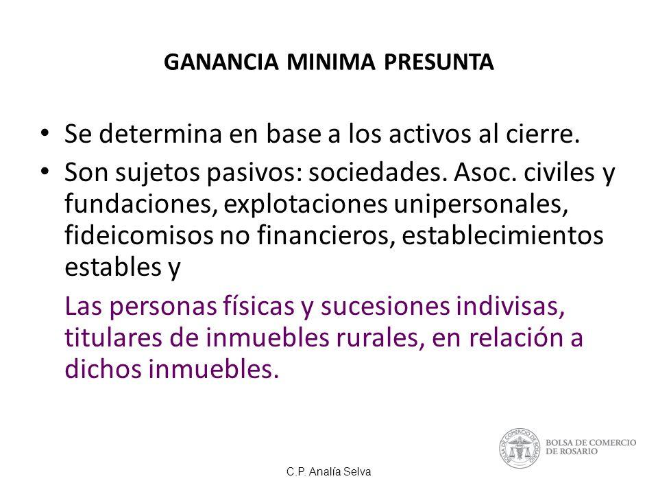 C.P.Analía Selva GANANCIA MINIMA PRESUNTA Se determina en base a los activos al cierre.