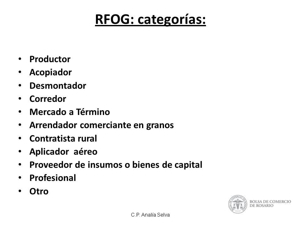 RFOG: categorías: Productor Acopiador Desmontador Corredor Mercado a Término Arrendador comerciante en granos Contratista rural Aplicador aéreo Proveedor de insumos o bienes de capital Profesional Otro