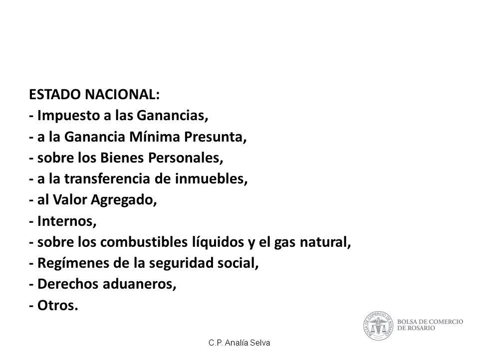 C.P. Analía Selva DERECHOS DE EXPORTACION (%) GIRASOL32 TRIGO23 MAIZ20 SOJA35