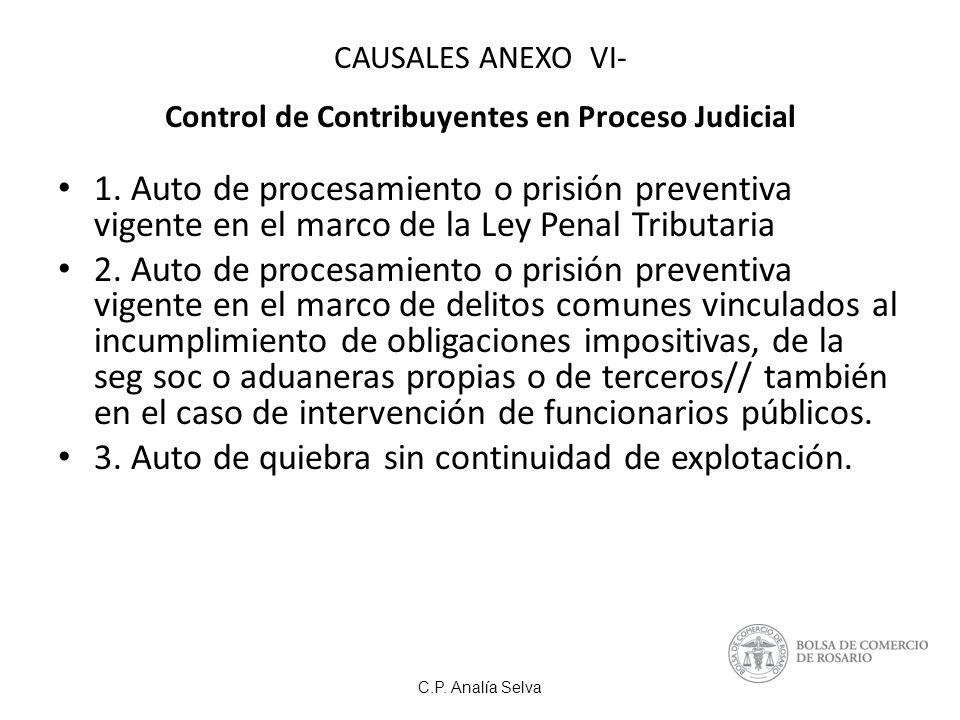 C.P.Analía Selva CAUSALES ANEXO VI- Control de Contribuyentes en Proceso Judicial 1.