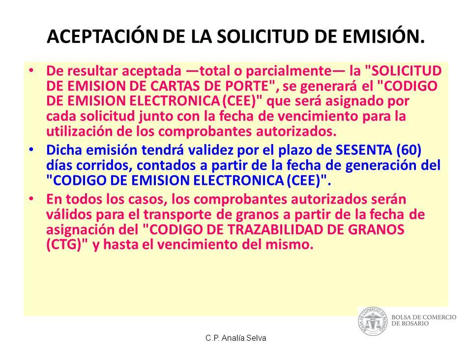 C.P.Analía Selva ACEPTACIÓN DE LA SOLICITUD DE EMISIÓN.