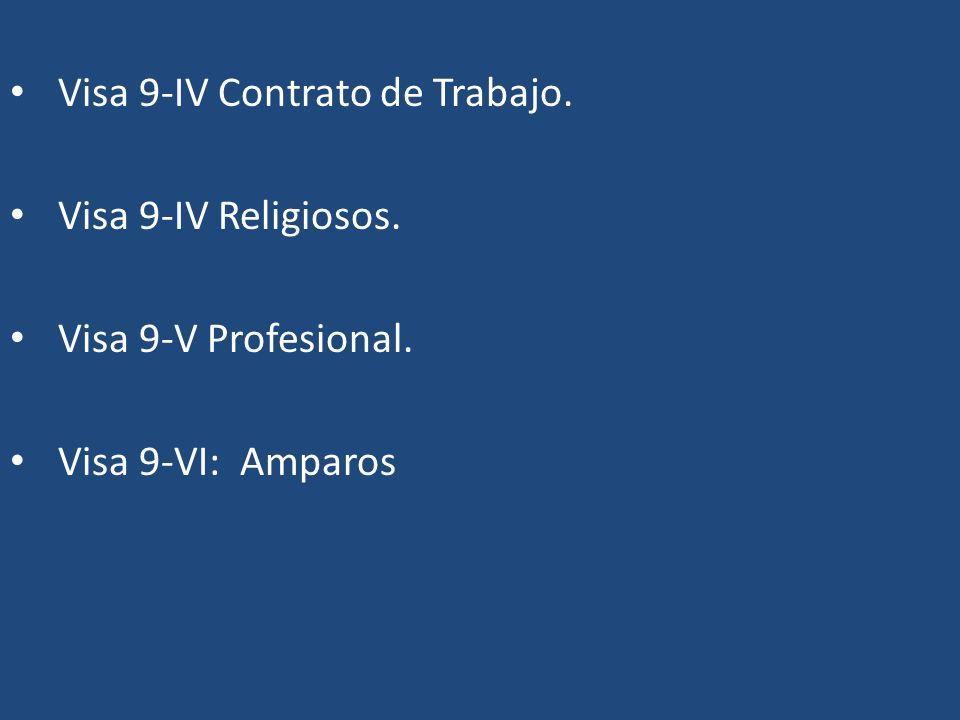Visa 9-IV Contrato de Trabajo. Visa 9-IV Religiosos. Visa 9-V Profesional. Visa 9-VI: Amparos