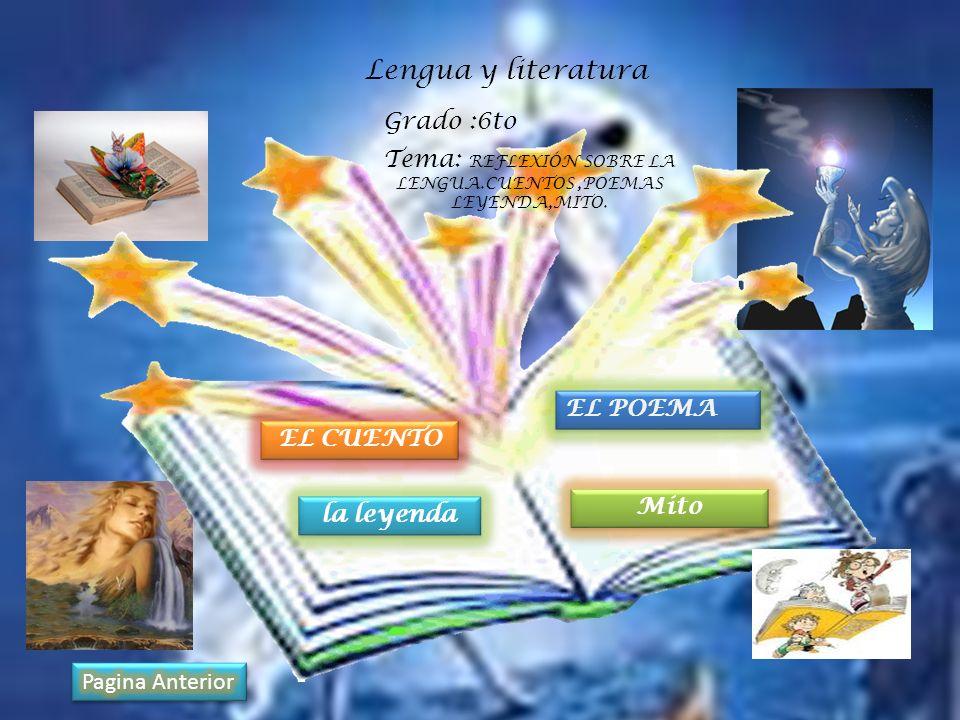 Lengua y literatura Tema: REFLEXIÓN SOBRE LA LENGUA.CUENTOS,POEMAS LEYENDA,MITO. Grado :6to EL CUENTO la leyenda EL POEMA Mito