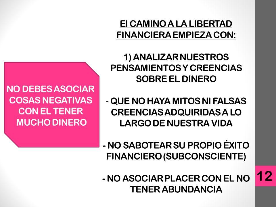 El CAMINO A LA LIBERTAD FINANCIERA EMPIEZA CON: 1) ANALIZAR NUESTROS PENSAMIENTOS Y CREENCIAS SOBRE EL DINERO - QUE NO HAYA MITOS NI FALSAS CREENCIAS ADQUIRIDAS A LO LARGO DE NUESTRA VIDA - NO SABOTEAR SU PROPIO ÉXITO FINANCIERO (SUBCONSCIENTE) - NO ASOCIAR PLACER CON EL NO TENER ABUNDANCIA 12 NO DEBES ASOCIAR COSAS NEGATIVAS CON EL TENER MUCHO DINERO