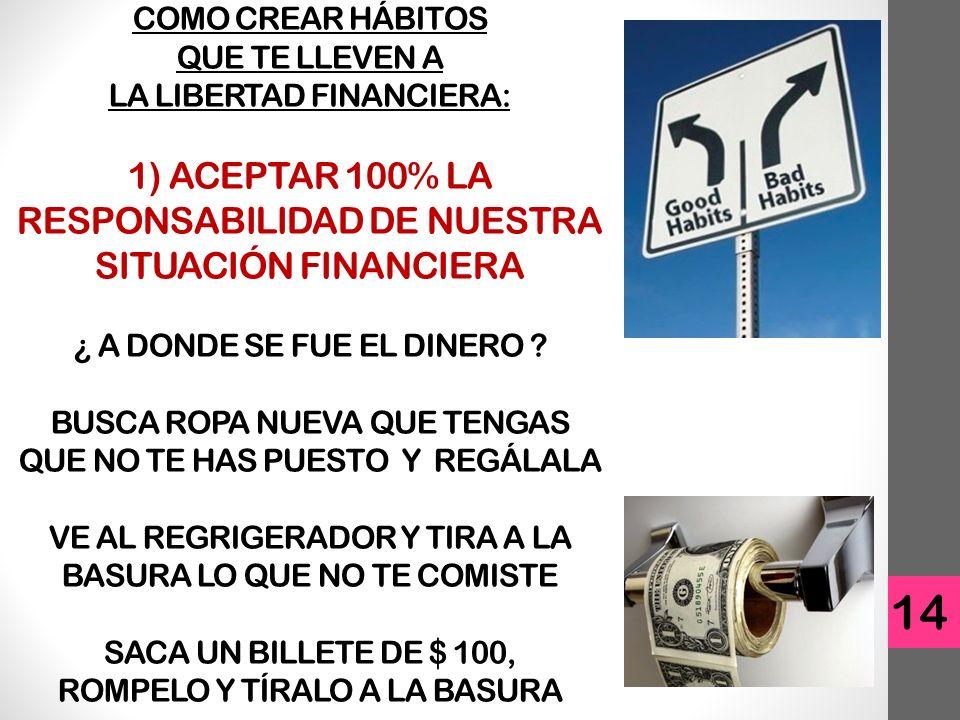 COMO CREAR HÁBITOS QUE TE LLEVEN A LA LIBERTAD FINANCIERA: 1) ACEPTAR 100% LA RESPONSABILIDAD DE NUESTRA SITUACIÓN FINANCIERA ¿ A DONDE SE FUE EL DINERO .