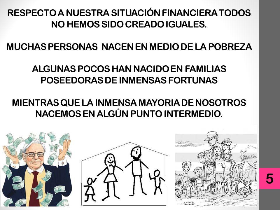 RESPECTO A NUESTRA SITUACIÓN FINANCIERA TODOS NO HEMOS SIDO CREADO IGUALES.
