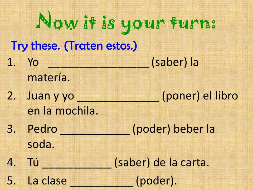 El Preterito de los Verbos Saber- to know MMMM… I know my alphabet SUP!.