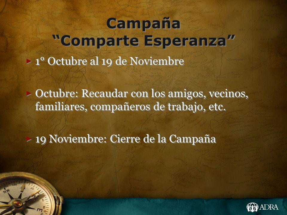 Campaña Comparte Esperanza 1° Octubre al 19 de Noviembre Octubre: Recaudar con los amigos, vecinos, familiares, compañeros de trabajo, etc. 19 Noviemb