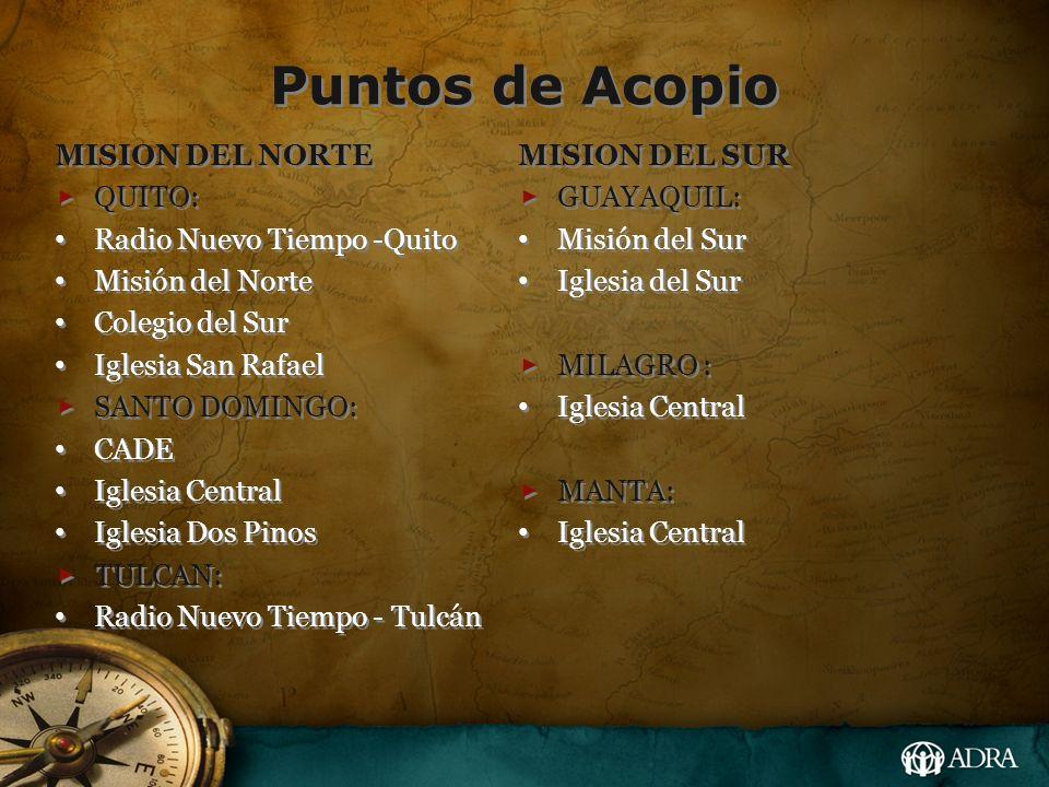 Puntos de Acopio MISION DEL NORTE QUITO: Radio Nuevo Tiempo -Quito Misión del Norte Colegio del Sur Iglesia San Rafael SANTO DOMINGO: CADE Iglesia Cen