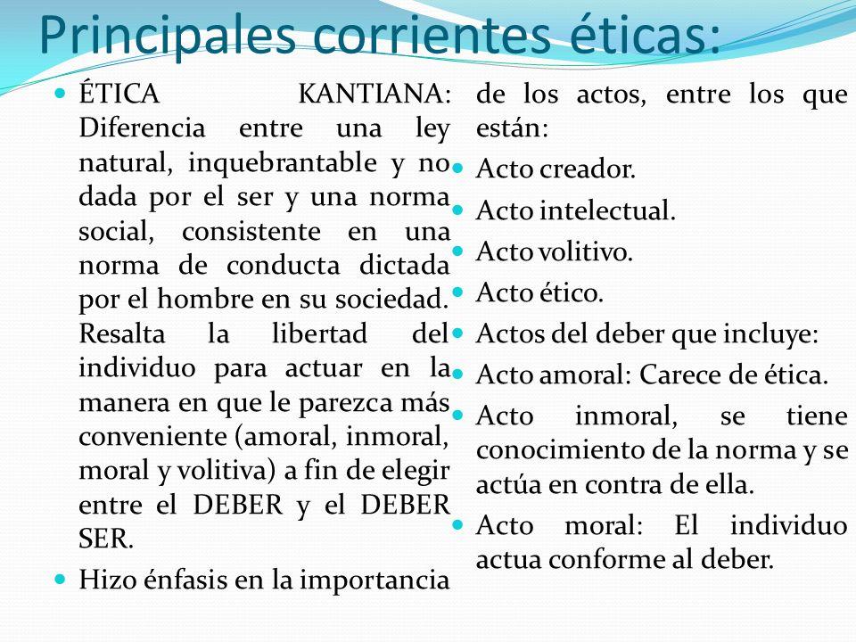 Principales corrientes éticas: ÉTICA KANTIANA: Diferencia entre una ley natural, inquebrantable y no dada por el ser y una norma social, consistente e