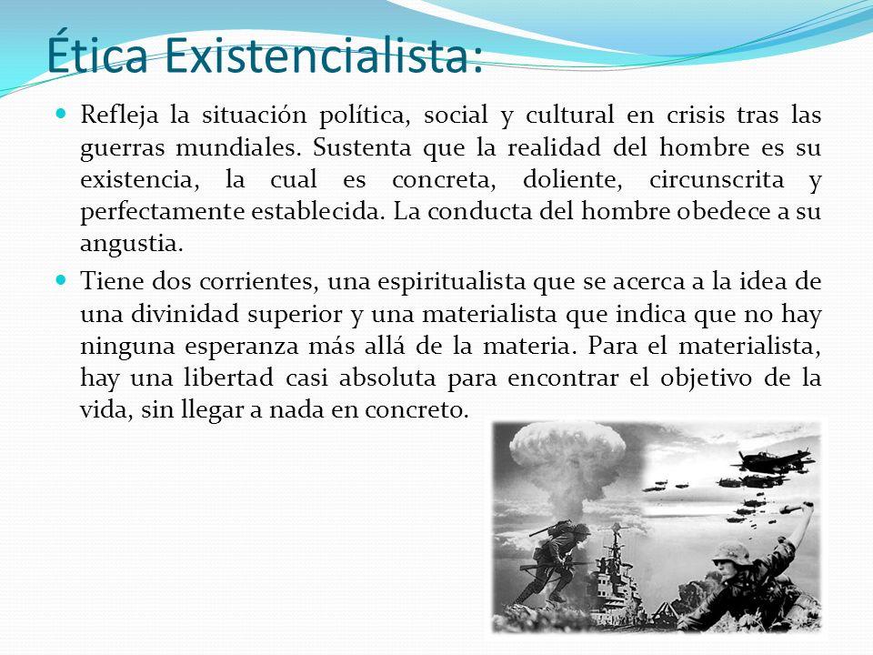 Ética Existencialista: Refleja la situación política, social y cultural en crisis tras las guerras mundiales. Sustenta que la realidad del hombre es s