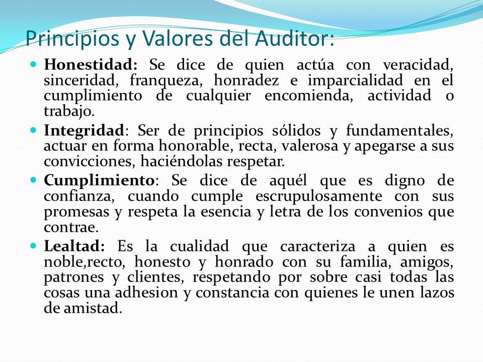 Principios y Valores del Auditor: Honestidad: Se dice de quien actúa con veracidad, sinceridad, franqueza, honradez e imparcialidad en el cumplimiento