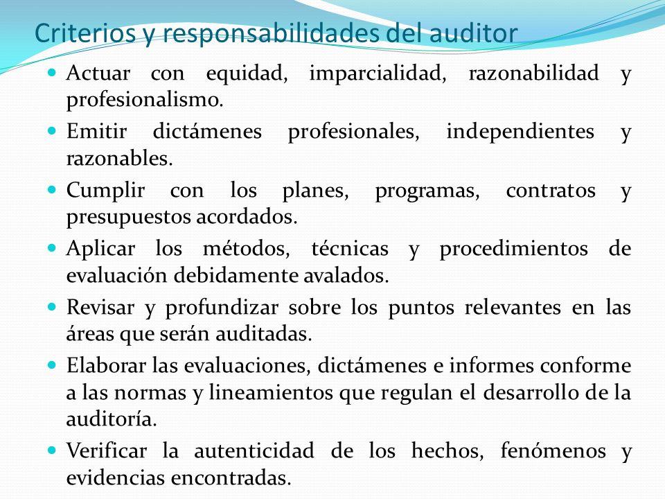 Criterios y responsabilidades del auditor Actuar con equidad, imparcialidad, razonabilidad y profesionalismo. Emitir dictámenes profesionales, indepen