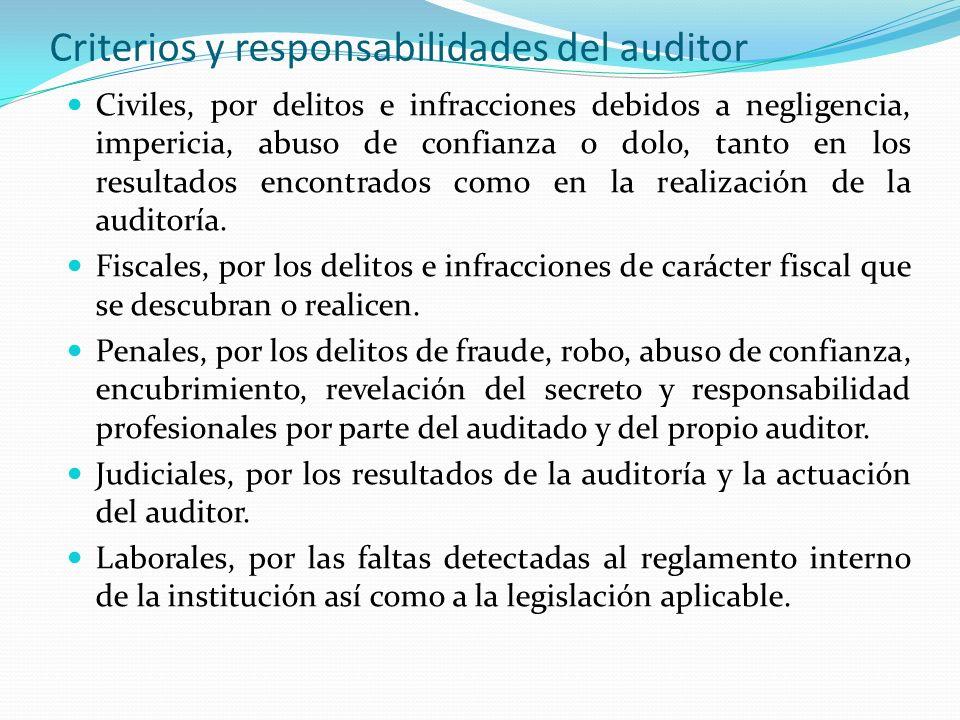 Criterios y responsabilidades del auditor Civiles, por delitos e infracciones debidos a negligencia, impericia, abuso de confianza o dolo, tanto en lo