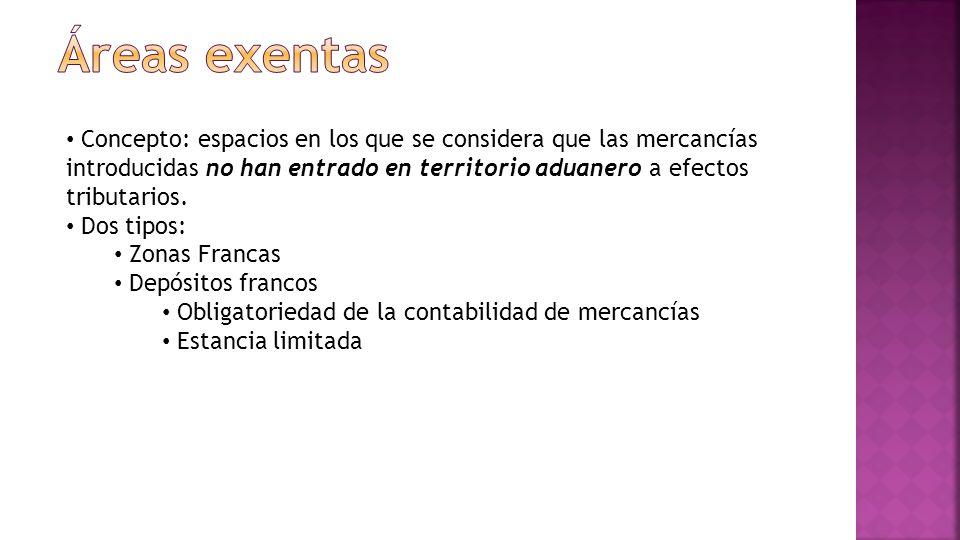 Concepto: espacios en los que se considera que las mercancías introducidas no han entrado en territorio aduanero a efectos tributarios.