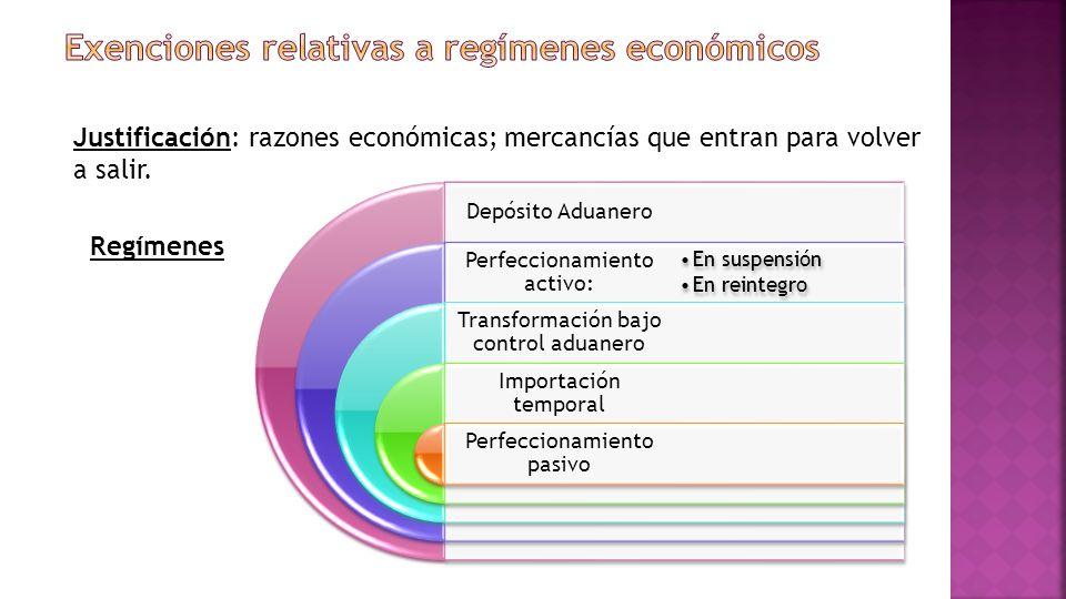 Justificación: razones económicas; mercancías que entran para volver a salir.