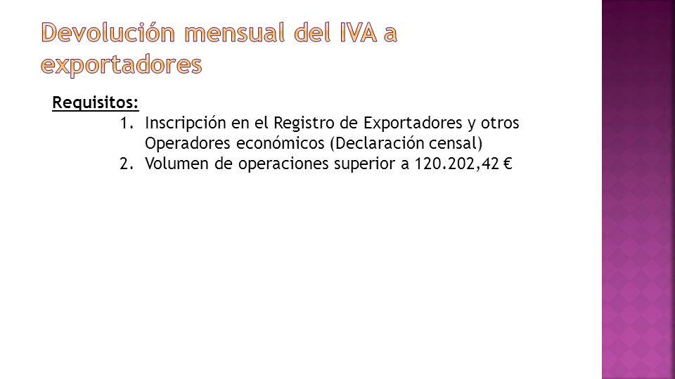 Requisitos: 1.Inscripción en el Registro de Exportadores y otros Operadores económicos (Declaración censal) 2.Volumen de operaciones superior a 120.202,42