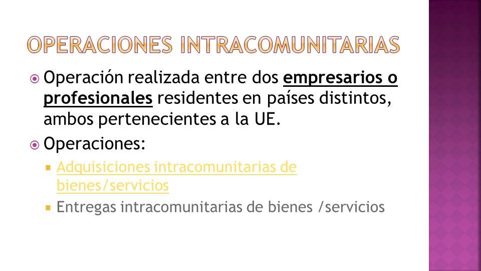Operación realizada entre dos empresarios o profesionales residentes en países distintos, ambos pertenecientes a la UE.