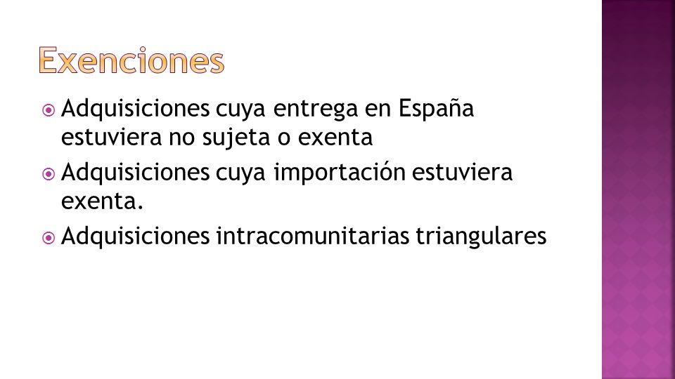 Adquisiciones cuya entrega en España estuviera no sujeta o exenta Adquisiciones cuya importación estuviera exenta.