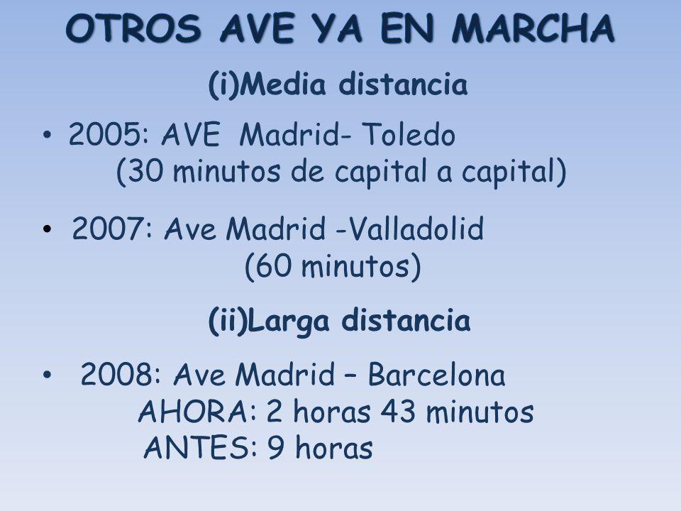 2005: AVE Madrid- Toledo (30 minutos de capital a capital) 2007: Ave Madrid -Valladolid (60 minutos) (ii)Larga distancia 2008: Ave Madrid – Barcelona