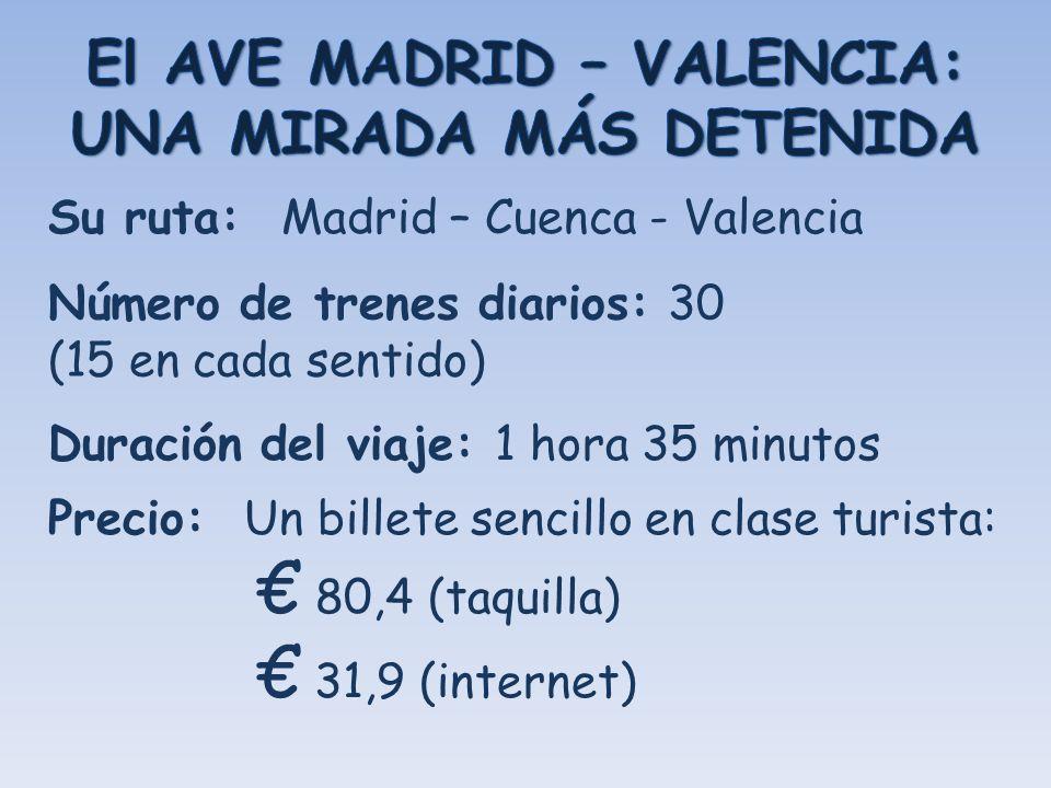 Su ruta: Madrid – Cuenca - Valencia Número de trenes diarios: 30 (15 en cada sentido) Duración del viaje: 1 hora 35 minutos Precio: Un billete sencill